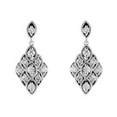18ct white gold 0.57ct diamond Art Deco style drop earrings