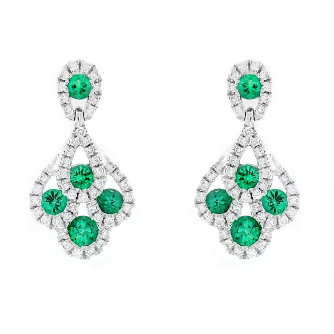 18ct white gold 0.57ct emerald & 0.32ct diamond peacock earrings