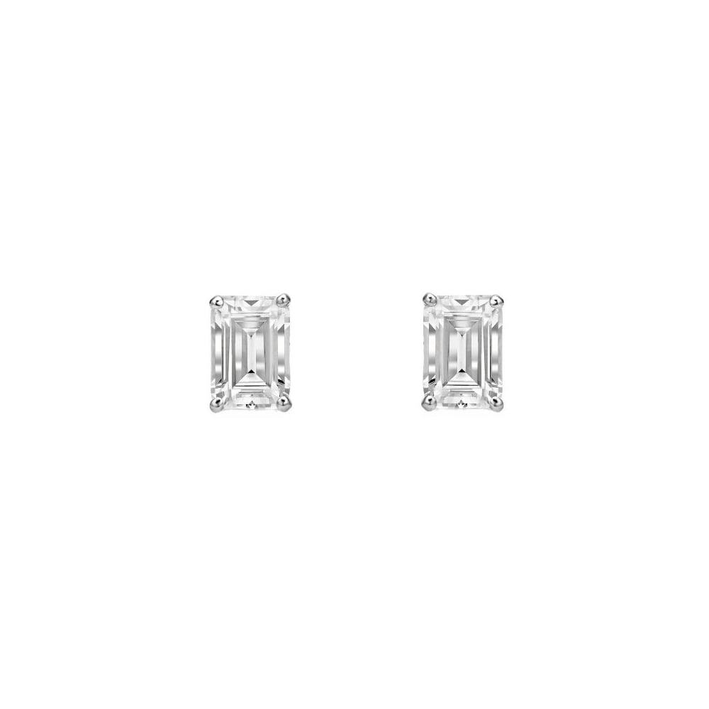 18ct White Gold 0 57ct Emerald Cut Diamond Stud Earrings
