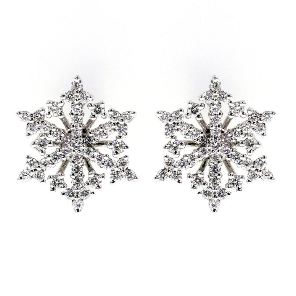 18ct White Gold 0 57ct Snowflake Diamond Stud Earrings