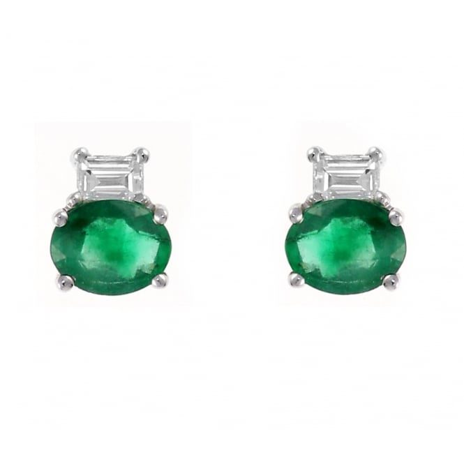 18ct white gold 0.60ct emerald & 0.24ct diamond stud earrings
