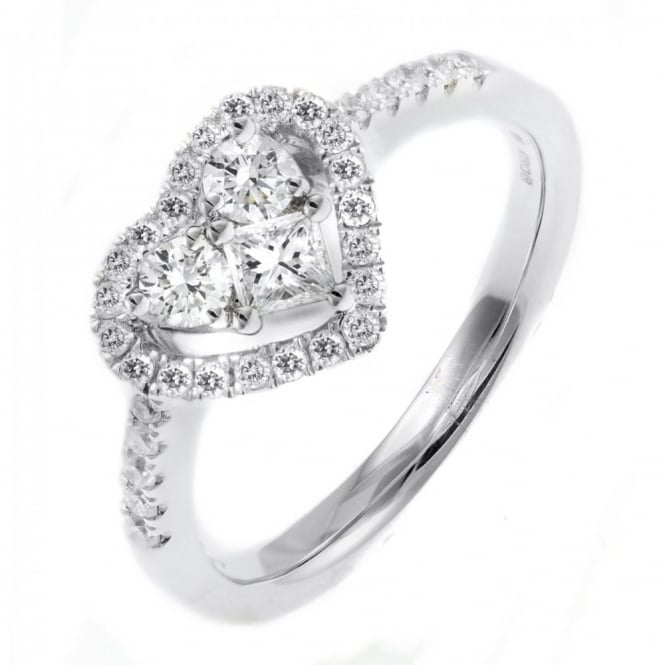 18ct white gold 0.60ct heart shaped diamond cluster ring.