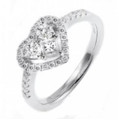 18ct white gold 0.60ct heart shaped diamond cluster ring