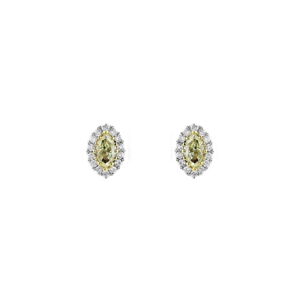 18ct White Gold 0 60ct Yellow Diamond Marquise Cer Earrings