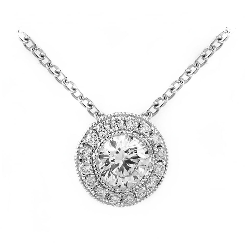 18ct white gold 061ct round brilliant cut diamond halo pendant 18ct white gold 061ct round brilliant cut diamond halo pendant aloadofball Gallery