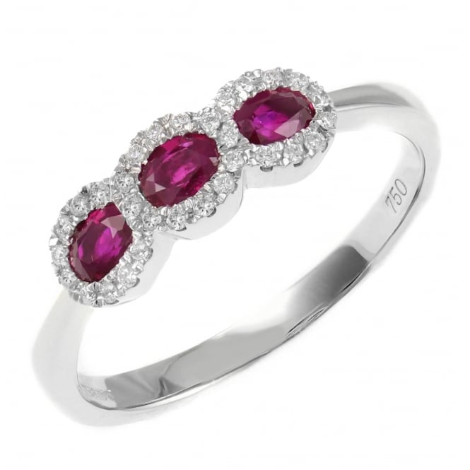 18ct white gold 0.61ct ruby & 0.15ct diamond cluster ring.
