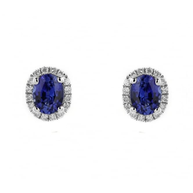 18ct white gold 0.61ct sapphire & diamond oval stud earrings