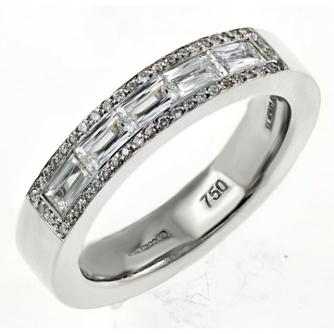 18ct white gold 0.63ct prince cut diamond half eternity ring.