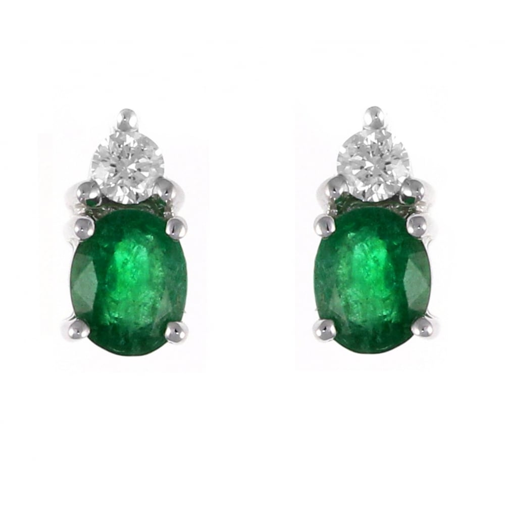 18ct White Gold 0 65ct Emerald 0 14ct Diamond Stud Earrings