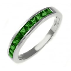 18ct white gold 0.65ct emerald channel set ring.