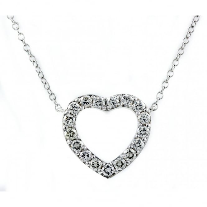 18ct white gold 0.68ct diamond heart shaped necklace.