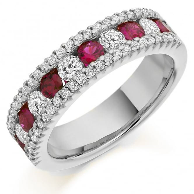 The Raphael Collection 18ct white gold 0.68ct ruby & 0.85ct diamond half eternity ring.