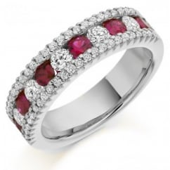 18ct white gold 0.68ct ruby & 0.85ct diamond half eternity ring.