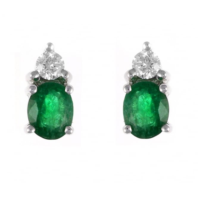 18ct white gold 0.70ct emerald & 0.15ct diamond stud earrings