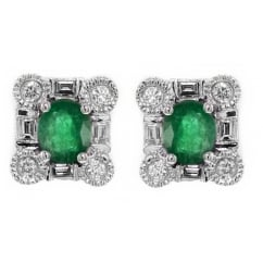 18ct white gold 0.70ct emerald & 0.35ct diamond stud earrings.