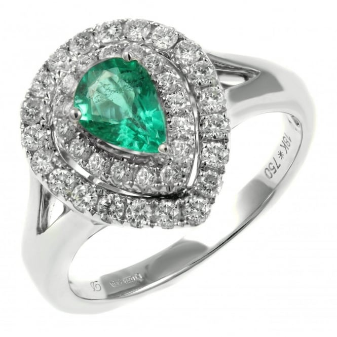 18ct white gold 0.70ct emerald & 0.60ct diamond double halo ring