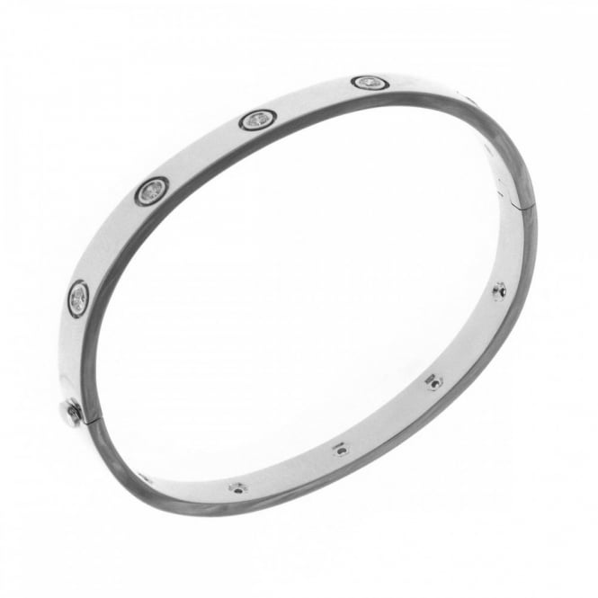 18ct white gold 0.70ct round brilliant cut diamond set bangle.