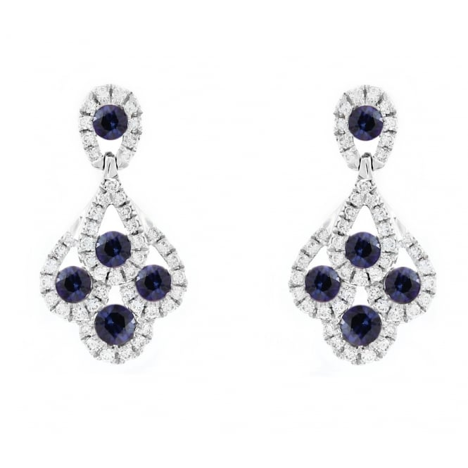 18ct white gold 0.71ct sapphire 0.33ct diamond peacock earrings