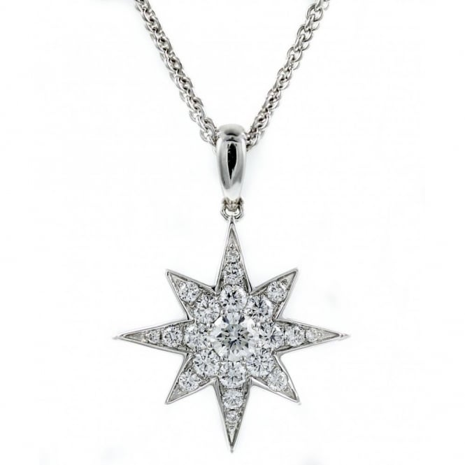 18ct white gold 0.72ct diamond star shaped pendant.