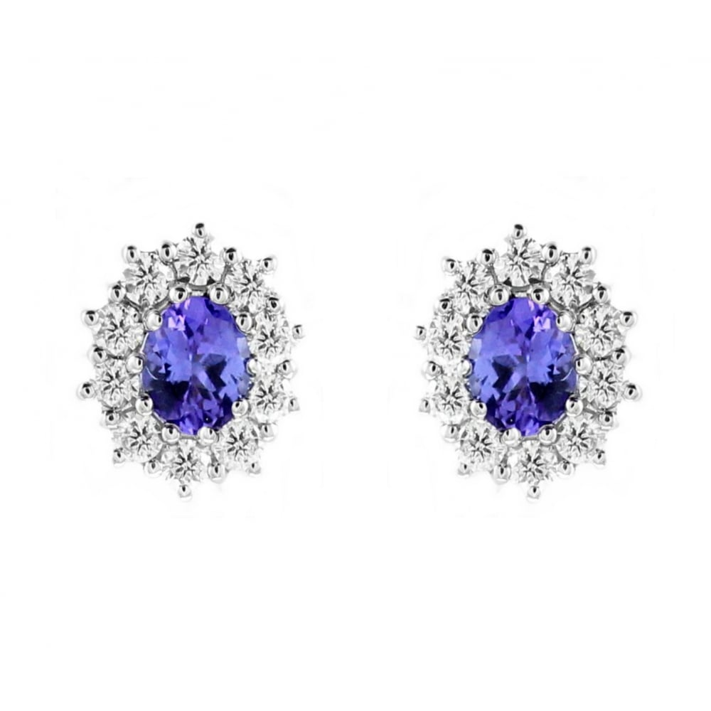 18ct White Gold 0 72ct Tanzanite 50ct Diamond Earrings