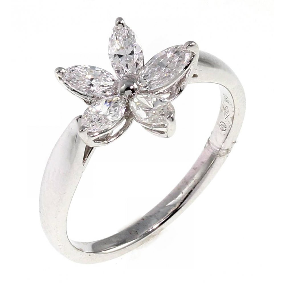 18ct White Gold 074ct Marquise Diamond Flower Cluster Ring