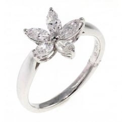 18ct white gold 0.74ct marquise diamond flower cluster ring.