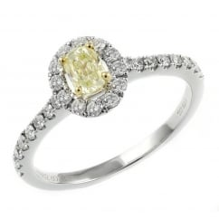 18ct white gold 0.74ct yellow diamond halo ring.