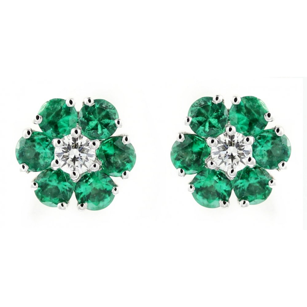 18ct White Gold 0 75ct Emerald 15ct Diamond Flower Earrings