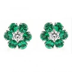 18ct white gold 0.75ct emerald 0.15ct diamond flower earrings.