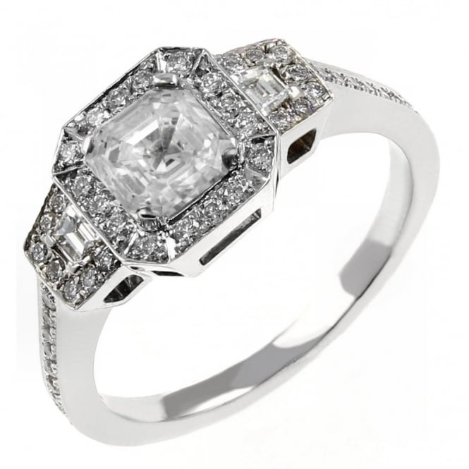 18ct white gold 0.75ct H VS1 GIA asscher diamond art deco ring.