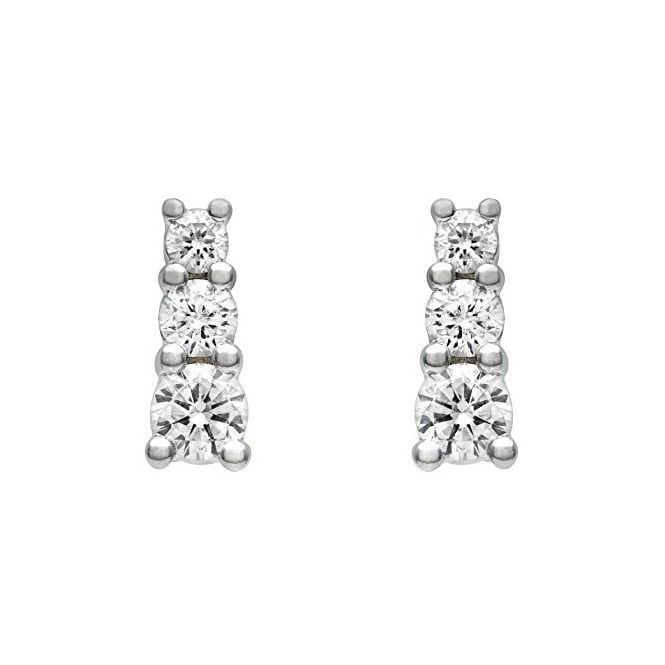 18ct white gold 0.75ct round brilliant diamond trilogy earrings