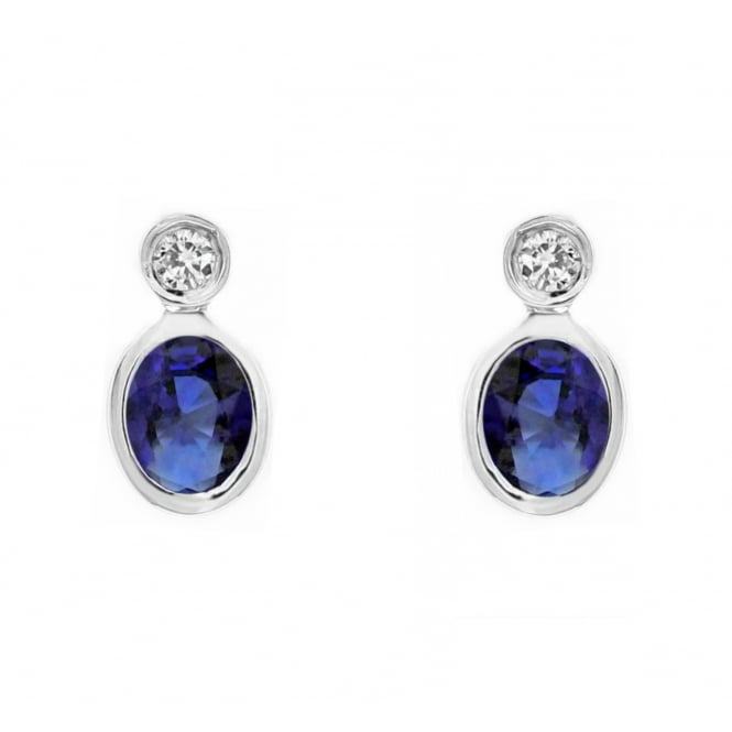 18ct white gold 0.75ct sapphire 0.06ct diamond stud earrings