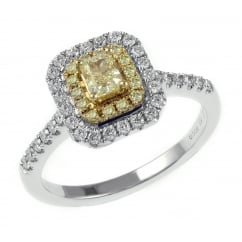 18ct white gold 0.76ct yellow diamond double halo ring.