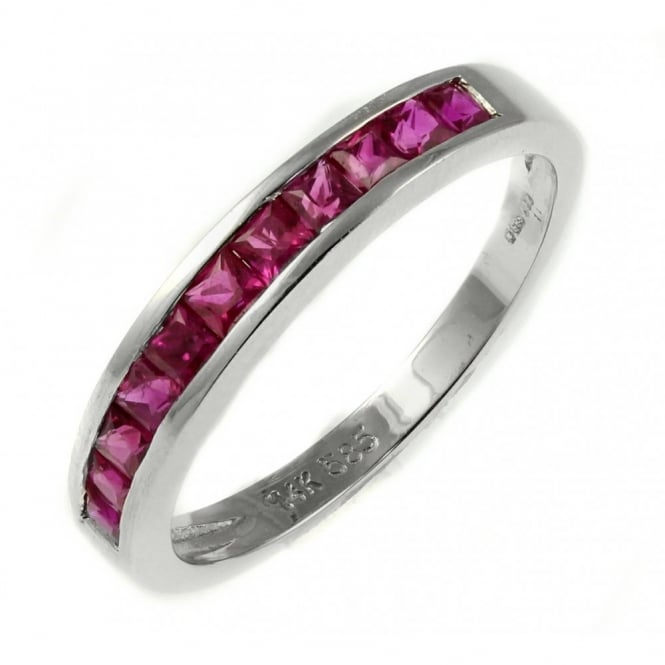 18ct white gold 0.77ct ruby half eternity ring.
