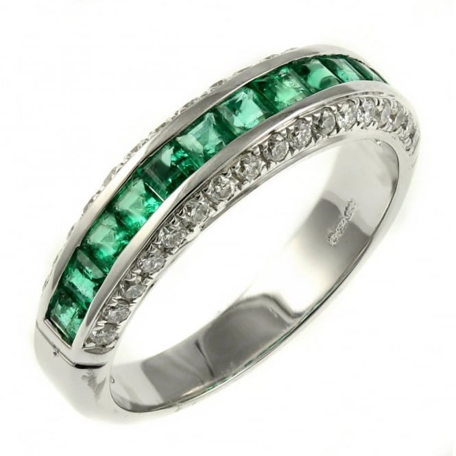 18ct white gold 0.78ct emerald & 0.40ct diamond eternity ring.