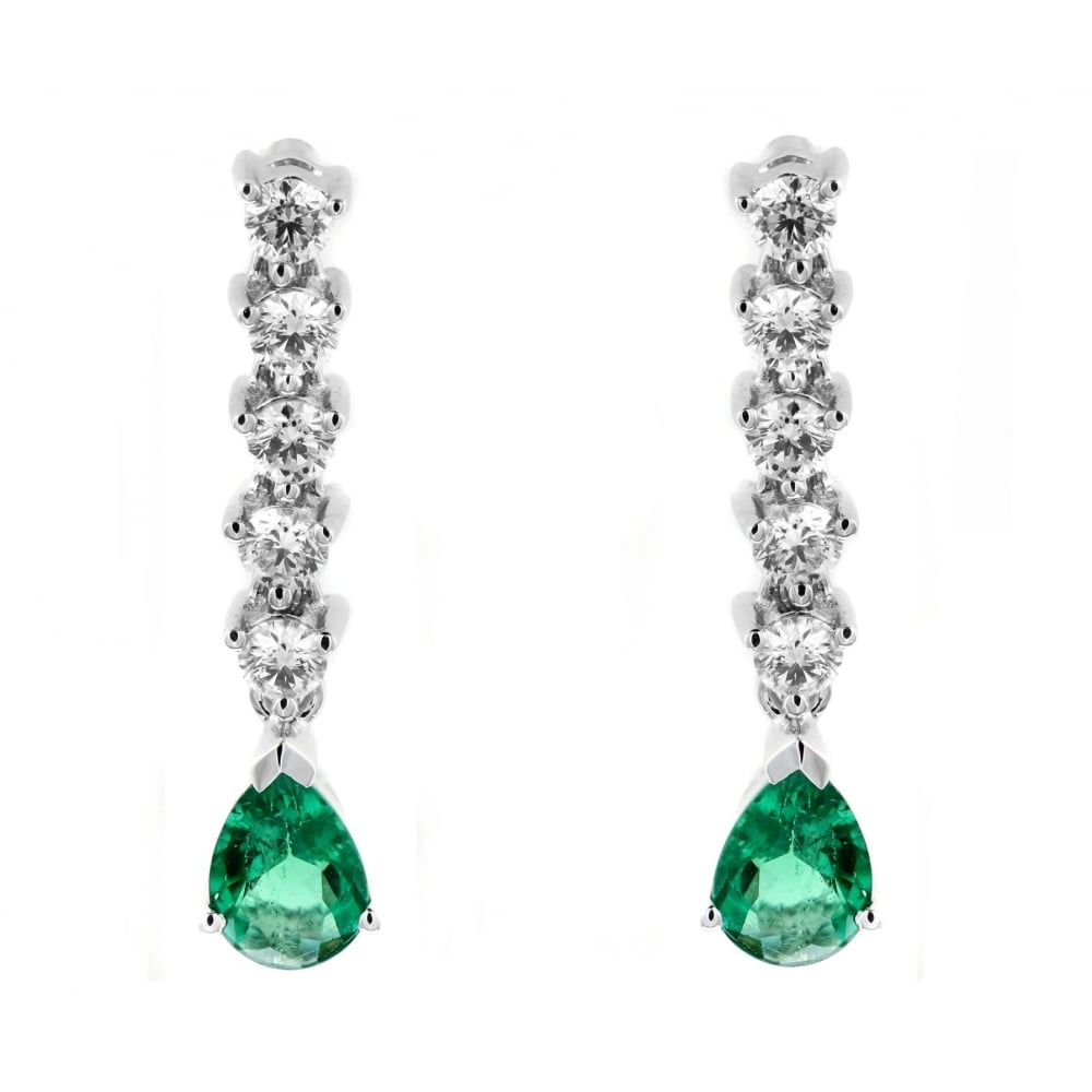 18ct White Gold 0 78ct Emerald 48ct Diamond Drop Earrings