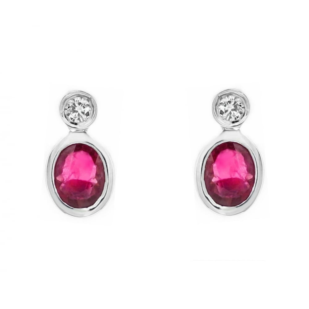 18ct White Gold 0 79ct Ruby 07ct Diamond Stud Earrings