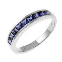 18ct white gold 0.81ct sapphire half eternity ring.