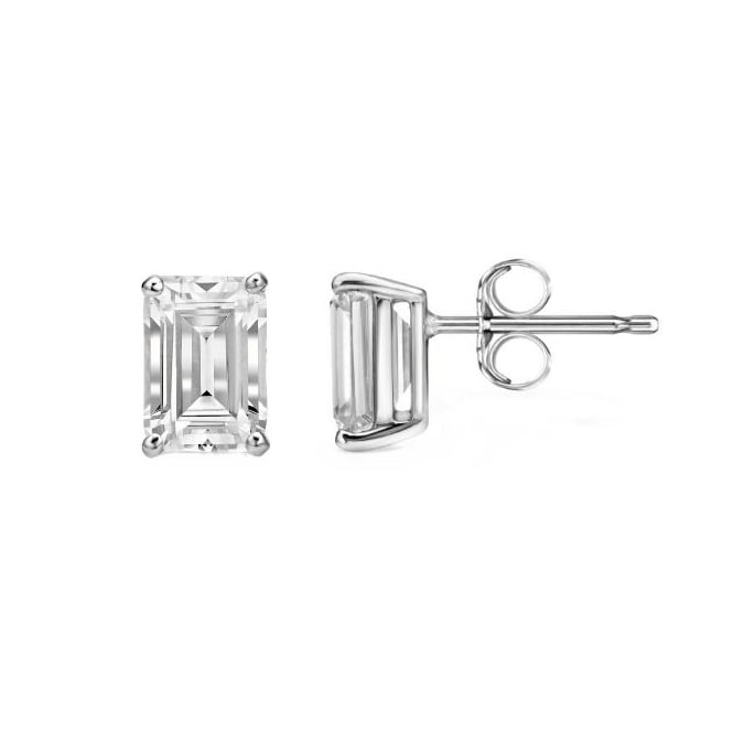 18ct White Gold 0 82ct Emerald Cut Diamond Stud Earrings