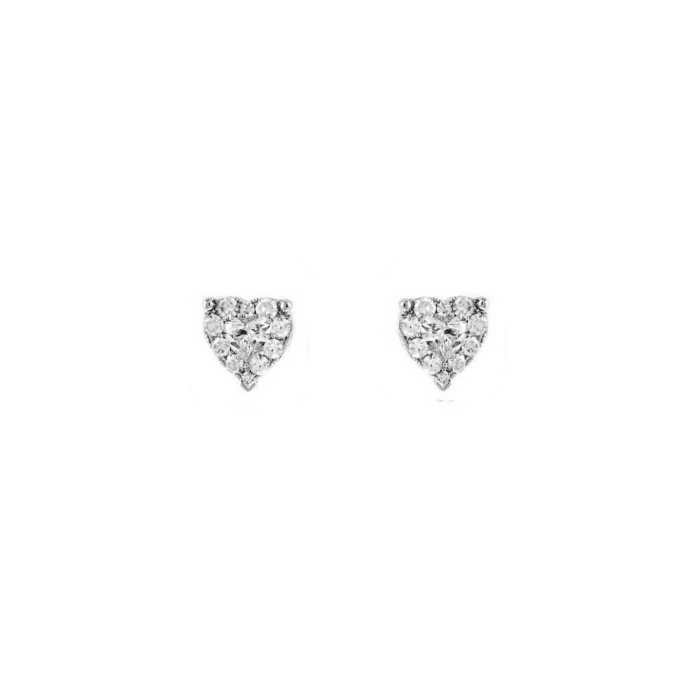 18ct White Gold 0 84ct Diamond Heart Stud Earrings