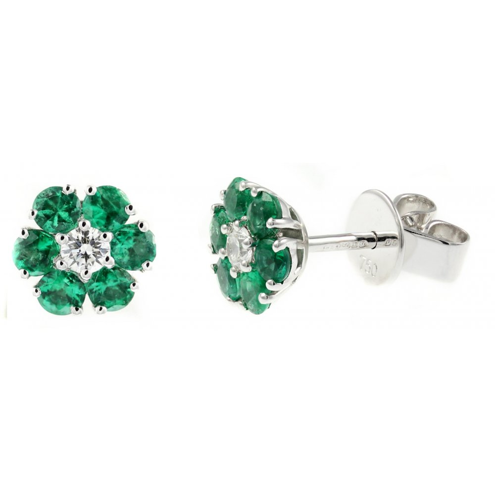 18ct White Gold 0 85ct Emerald 15ct Diamond Cer Earrings