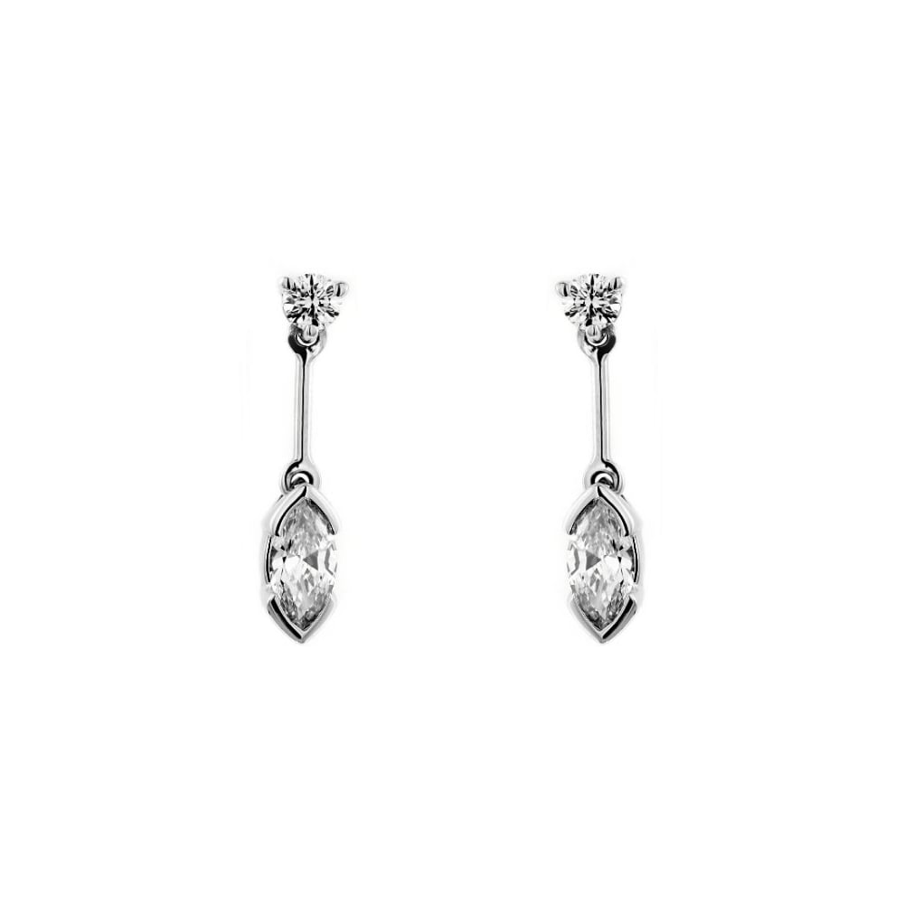 18ct White Gold 0 85ct Marquise Round Diamond Drop Earrings