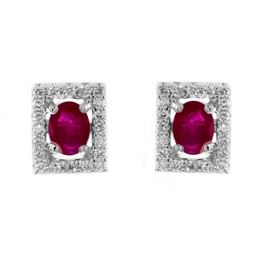 18ct White Gold 0 85ct Ruby 26ct Diamond Stud Earrings