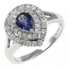 18ct white gold 0.88ct sapphire 0.60ct diamond double halo ring