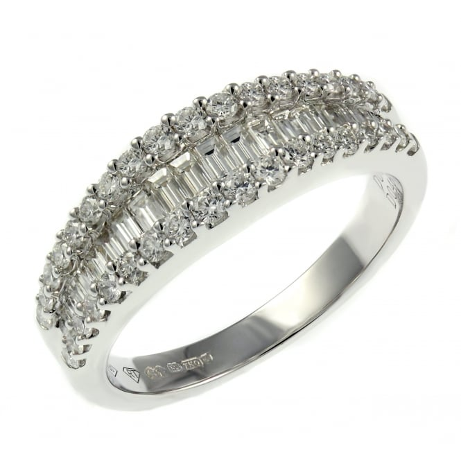 18ct white gold 0.90ct baguette round channel half eternity ring