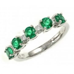 18ct white gold 0.90ct emerald & 0.16ct diamond eternity ring.