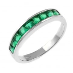 18ct white gold 0.92ct emerald half eternity ring