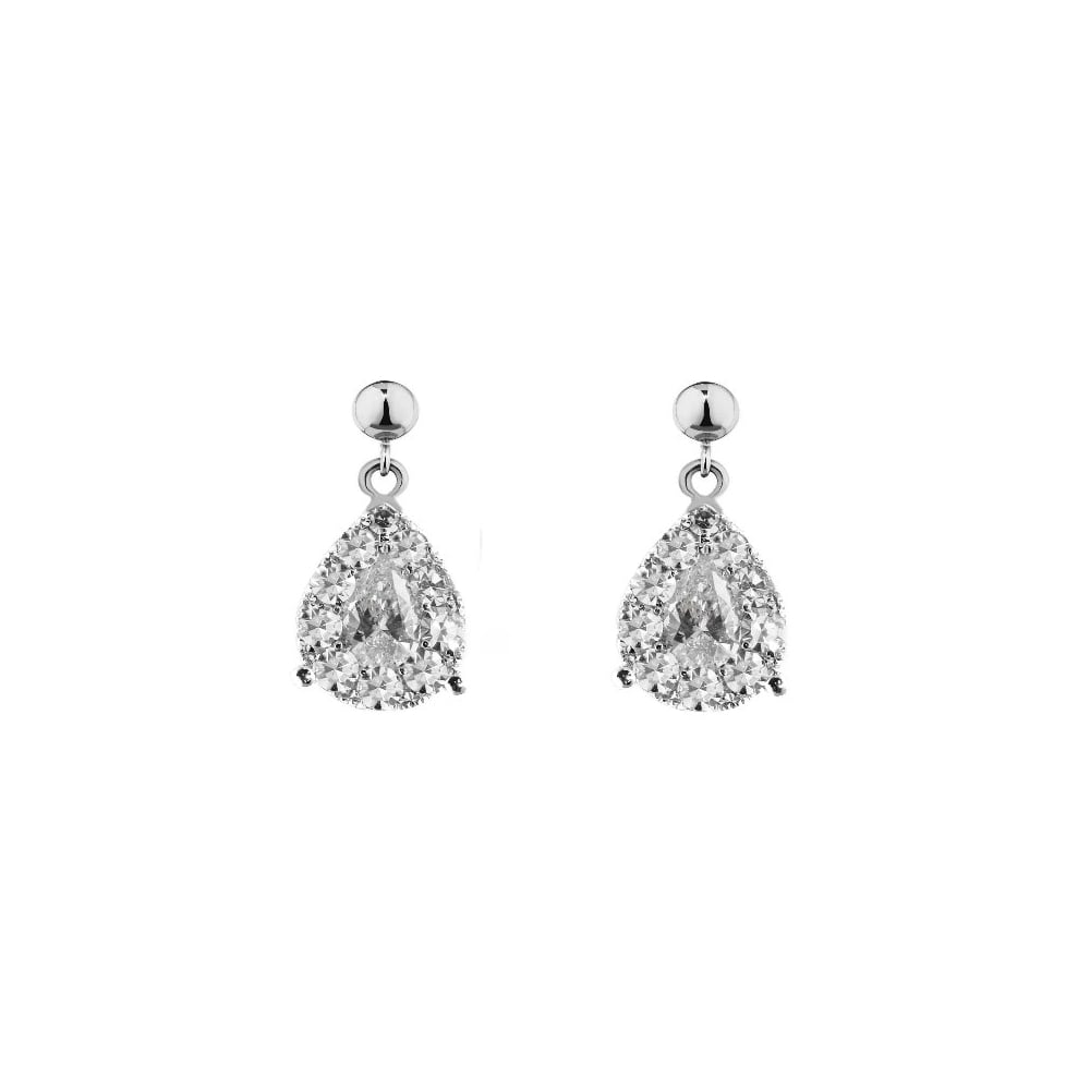 18ct White Gold 0 92ct Pear Diamond Drop Earrings Jewellery From