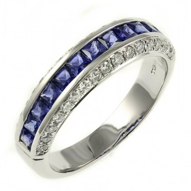 18ct white gold 0.93ct sapphire & 0.40ct diamond eternity ring.
