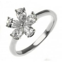18ct white gold 0.95ct pear flower cluster diamond ring.